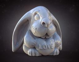 valentine rabbit vray and 3d printable model