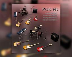 Music Set 3D asset