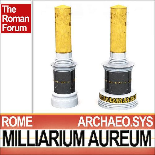 roman imperial milliarium aureum 3d model obj 3ds c4d vue mat 1