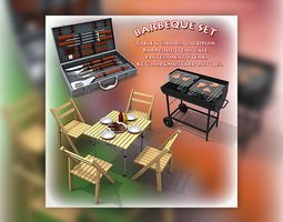 game-ready 3d model barbeque set