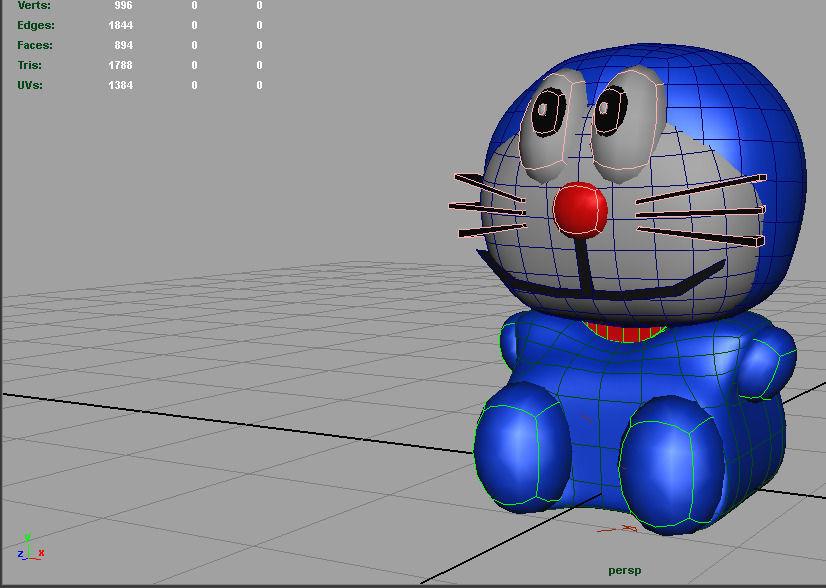 Ảnh :Mô hình 3D của chú mèo máy Doraemon Nguồn : https://www.cgtrader.com