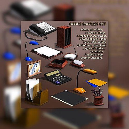 office supplies set 3d model low-poly max obj mtl 3ds lwo lw lws 1