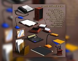 Office Supplies Set 3D Model