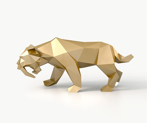 low poly saber toothed tiger 3d model low-poly max 3ds fbx stl 1