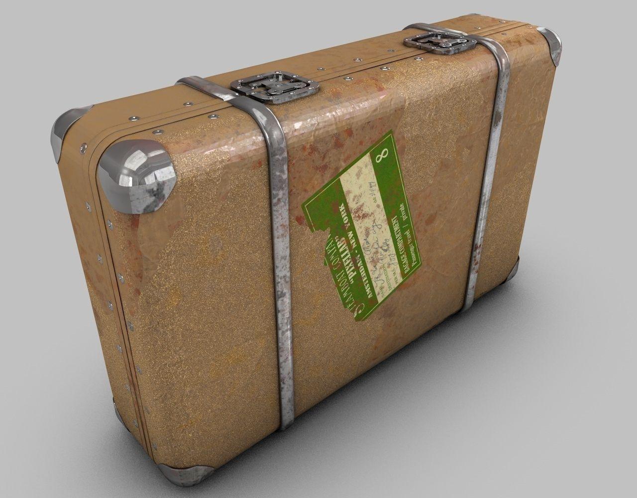 vintage old suitcase 3d model cgtrader