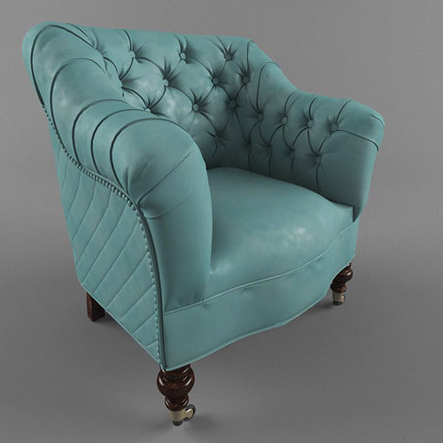 Vintage Chair With Buttons 3D Model