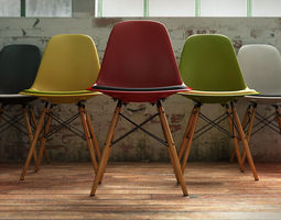 3D Vitra Eames plastic side chair DSW