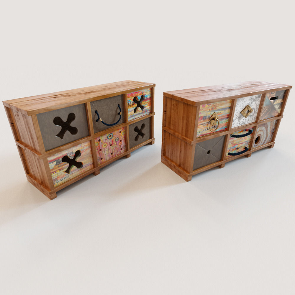 2 Ethnic chests of drawers