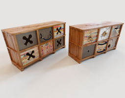 3d 2 ethnic chests of drawers
