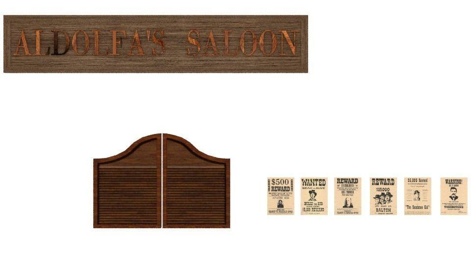 ... saloon doors 3d model animated obj mtl 2