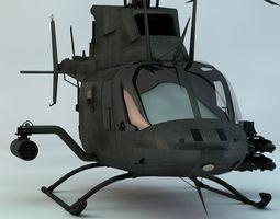 kiowa warrior reconnasiance helicopter 3d model max obj 3ds fbx c4d skp