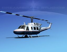 bell 212 madison county sheriff 3d model rigged max obj 3ds lwo lw lws dxf stl