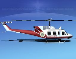 bell 212 v10 police srt 3d model rigged max obj 3ds lwo lw lws dxf stl