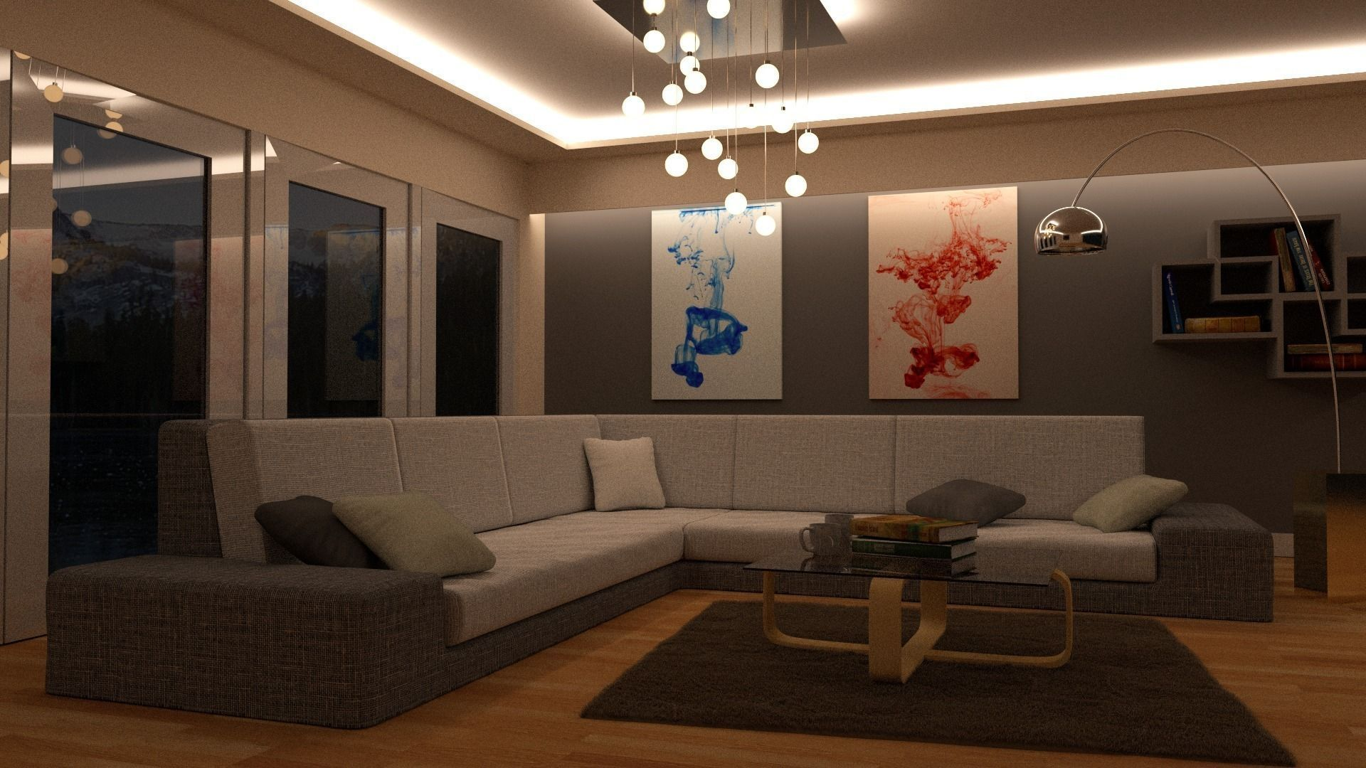 ... Lounge Room Day And Night Scene Blender Models 3d Model Blend 2 Photo Gallery