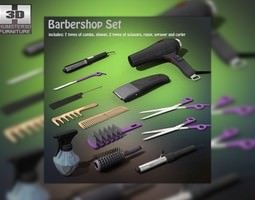 3d model game-ready barbershop set