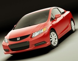 honda civic coupe 2012 3d model