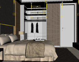 bed-room 3D Bedroom or Hotel Room Photoreal