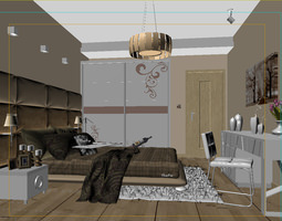 bed 3D Bedroom or Hotel Room Photoreal