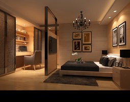 3d model bedroom or hotel room photoreal