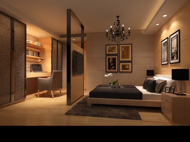 3d model bedroom or hotel room photoreal cgtrader for Bedroom designs 3d model