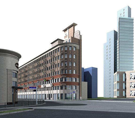Exterior office Art Deco Meashots Exterior Flat Office Building 3d Cgtrader