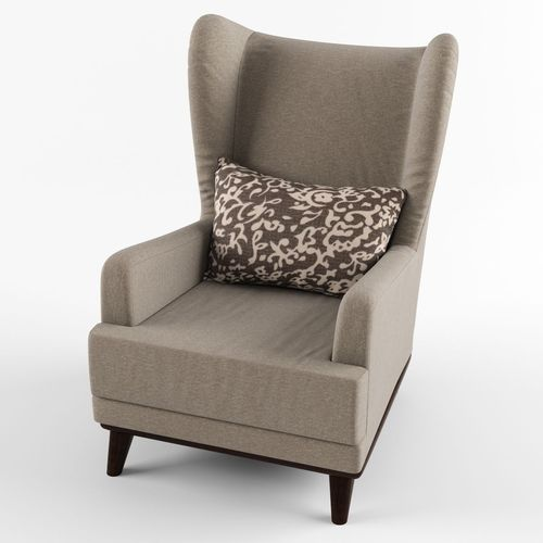 Armchair with headrest and pillow 3D Model MAX OBJ FBX ...