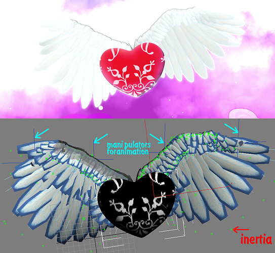 realistic wings inertia feathers 3d model max obj 3ds mtl 1