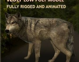 wolf rigged and animated VR / AR ready 3d model