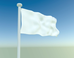 waving flag with pole 3d