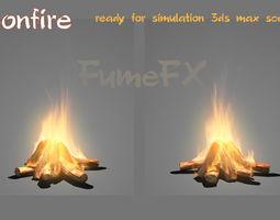 bonfire ready for simulation fumefx scene animated 3d model