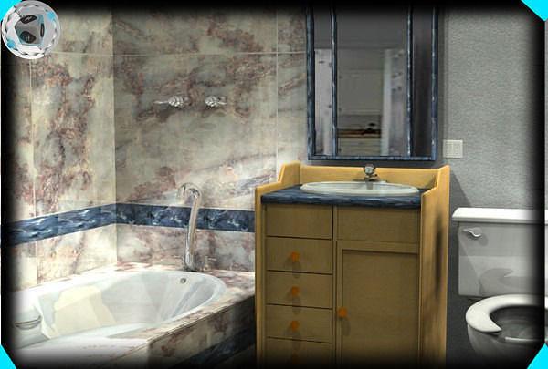 Bathroom layout 1 3d cgtrader for 3d bathroom layout
