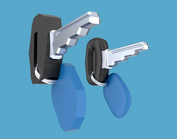 car key with keyring and label keychain 3d asset