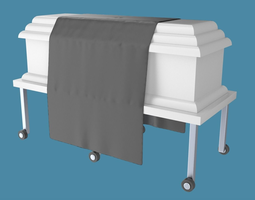 casket or coffin with table and draped cloth 3d model