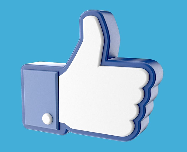 facebook like thumb up hand icon 3d 3d model obj blend mtl 1