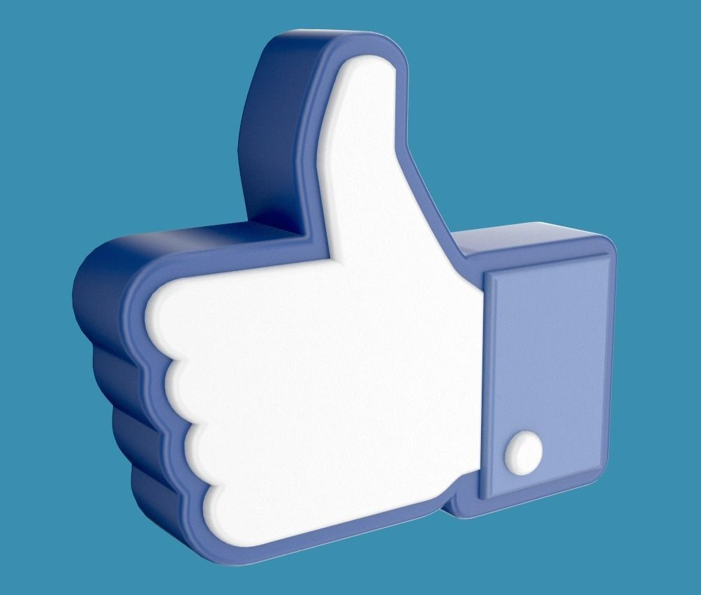 Facebook like thumb up hand icon 3D 3D Model OBJ BLEND MTL ... Facebook Thumbs Up Transparent Background
