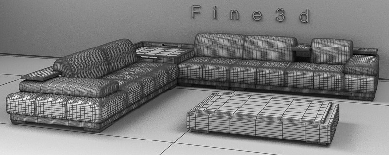 Living Room Set 04 Combination Sofa 011 3d Model Obj 3ds 2