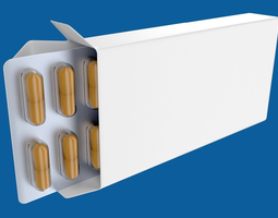 3D model Medicine or drug box with capsules