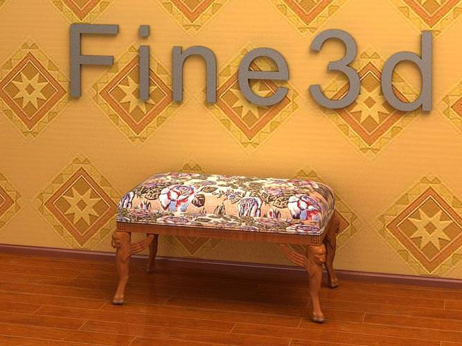 antique padded bench 08-066 3d model obj 3ds 1