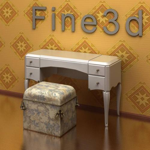 vanity table and stool antique-09-075-make-up desk 3d model obj 3ds 1