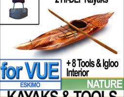 eskimo kayaks and igloo tools package 3d model