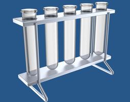 Test-tubes in rack 3D model