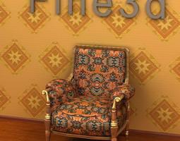3D model Upholstered Armchair 09om 05