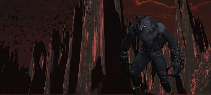 werewolf 3d model low-poly animated fbx unitypackage prefab 1
