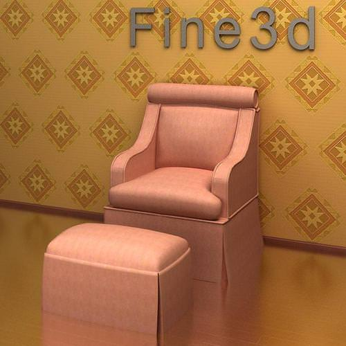 armchair ottoman 09-099 3d model max obj 3ds 1