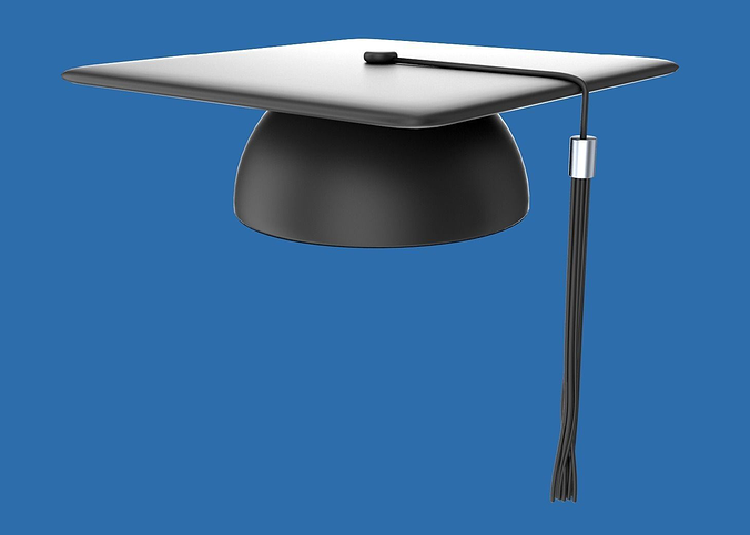 student graduation cap 3d model obj blend 1