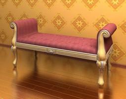 3D Elegant Upholstered Bench