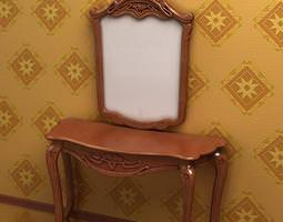 antique make-up table and mirror -09-0107- 3d