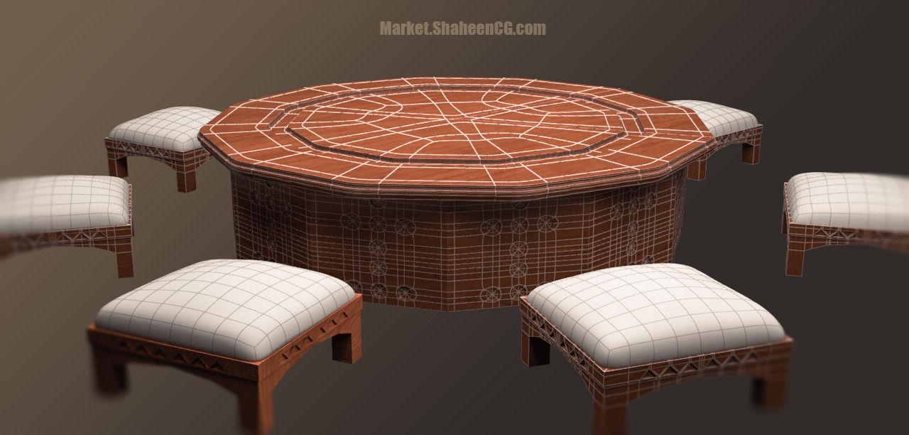 Superieur Arabic Furniture Table 3d Model Max Obj Fbx Ma Mb 1 ...