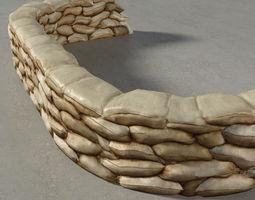 Sandbags Wall Construction Kit 3D asset
