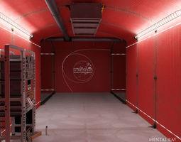 realtime 3d model analytical scientific rack in corridor animated
